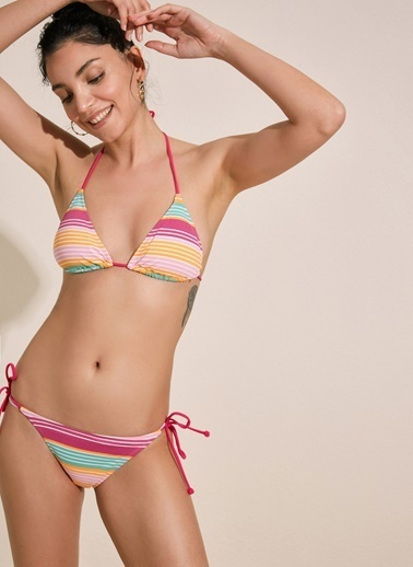 Morhipo Beach İpli Üçgen Bikini Renkli